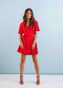 Red Short Homecoming Flutter Sleeve Wrap Dress-Homecoming Dress-Ivory and Kate