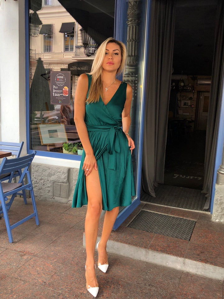 Mint Bridesmaid Sleeveless Knee Length Wrap Dress-Bridesmaid Dresses-Ivory and Kate