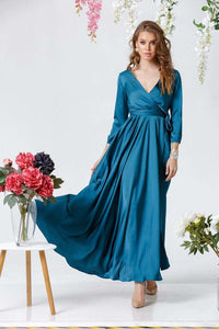 Aquamarine Bridesmaid Boho Long Wrap Dress-Bridesmaid Dresses-Ivory and Kate