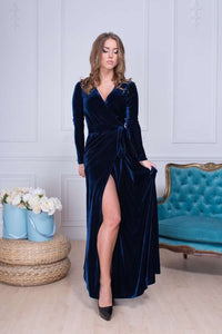 Navy Blue Long Sleeve Boho Maxi Dress