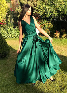 Emerald Bridesmaid Boho Infinity Dress-Bridesmaid Dresses-Ivory and Kate