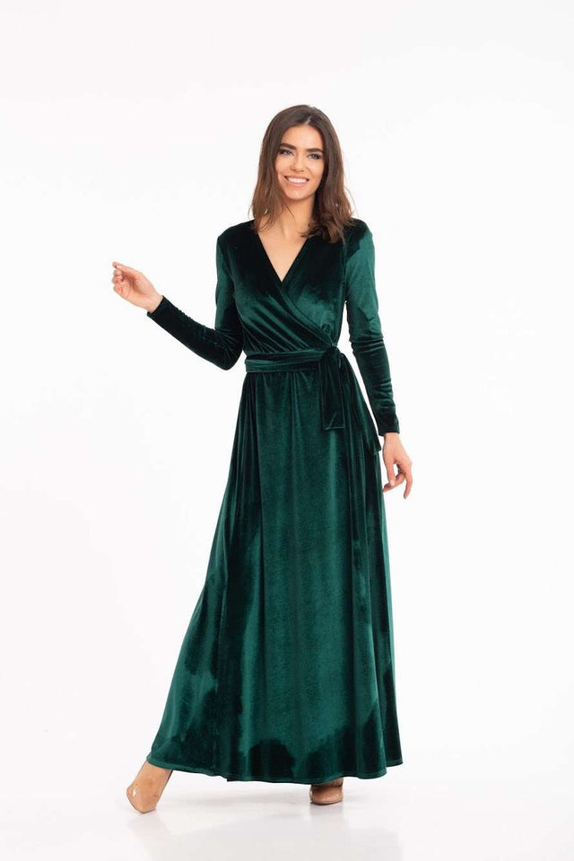 Green Velvet Bridesmaid Wrap Maxi Dress