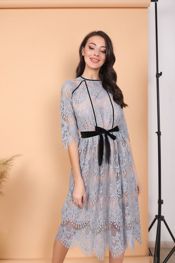 Dusty Blue Sheer Midi Lace Dress-Formal Dress-Ivory and Kate