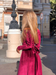 Burgundy Velvet Bridesmaid Off Shoulder Dress