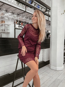 Lace Sheer Knee Length Pencil Dress
