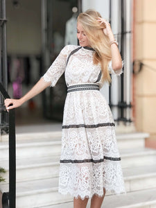 White Guipure Boho Midi Lace Homecoming Sheer Summer Airy Dress