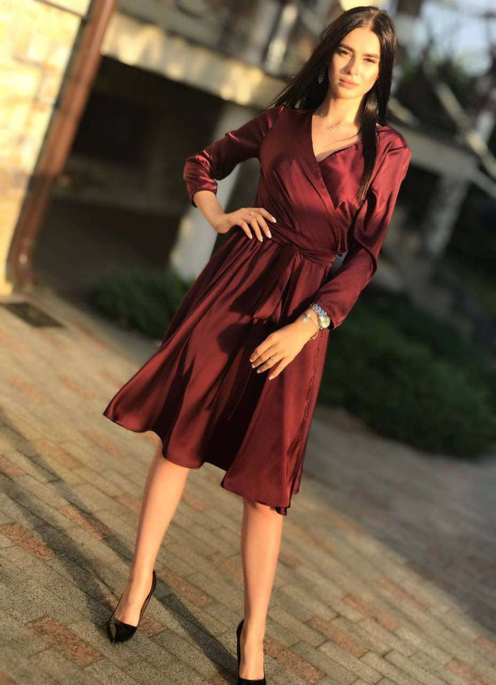 Red Bridesmaid Bohemian Knee Length Wrap Dress