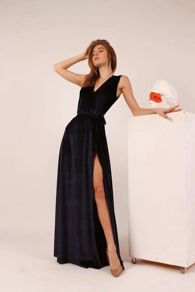 Navy Blue Bridesmaid Wrap Velvet Sleeveless Dress-Bridesmaid Dresses-Ivory and Kate