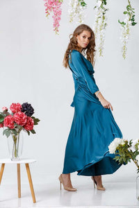 Sky Blue Bridesmaid Bohemian Boho Maxi Dress