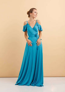 Turquoise Bridesmaid Ruffle Sleeves Maxi Dress