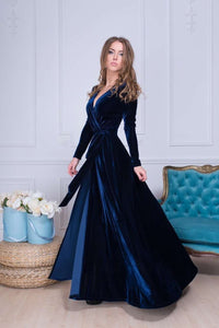 Navy Blue Long Sleeve Boho Long Dress