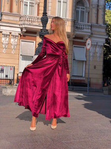 Burgundy Velvet Bridesmaid Off Shoulder Dress-Bridesmaid Dresses-Ivory and Kate