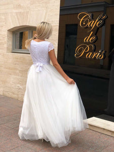 Long Tulle Wedding Dress