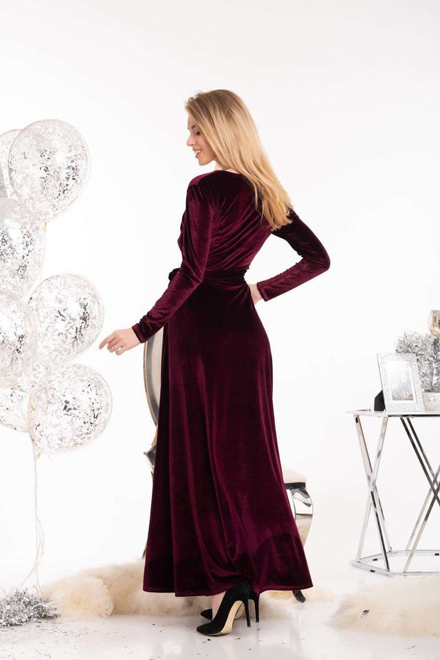 Mauve Velvet Evening Long Dress-Bridesmaid Dresses-Ivory and Kate