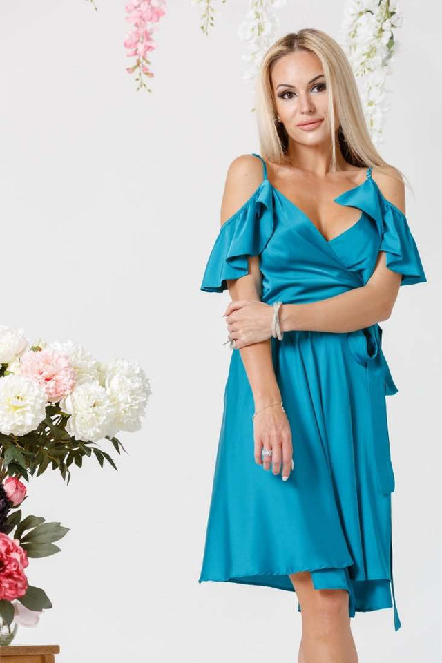 Turquoise Bridesmaid Ruffle Sleeves Wrap Dress-Bridesmaid Dresses-Ivory and Kate