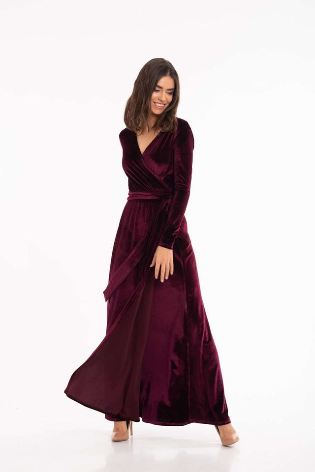 Marsala Velvet Long Sleeve Wrap Maxi Dress-Bridesmaid Dresses-Ivory and Kate