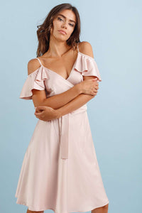 Light Pink Off-shoulder Midi Summer Dress-Bridesmaid Dresses-Ivory and Kate