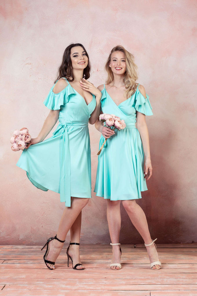 Red Ruffle Sleeves Bridesmaid Dresses