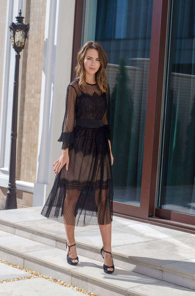 Black Lace Bohemian Dress-Prom Dress-Ivory and Kate