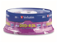 VERBATIM DVD+R DL 8.5GB 2.4X Branded 20PK