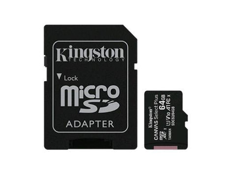 Kingston 64GB microSDXC Canvas Select Plus 100R A1 C10 Card + ADP
