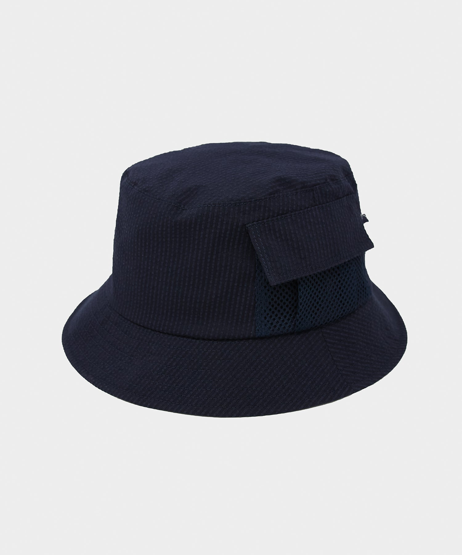 Câbleami Cool Max Seersucker Bucket Hat in Navy