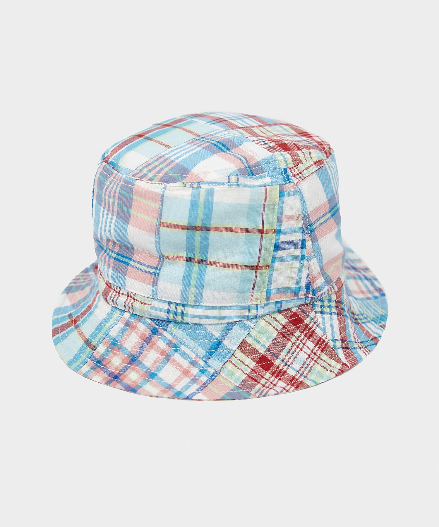 Câbleami Madras Patchwork Bucket Hat in Blue
