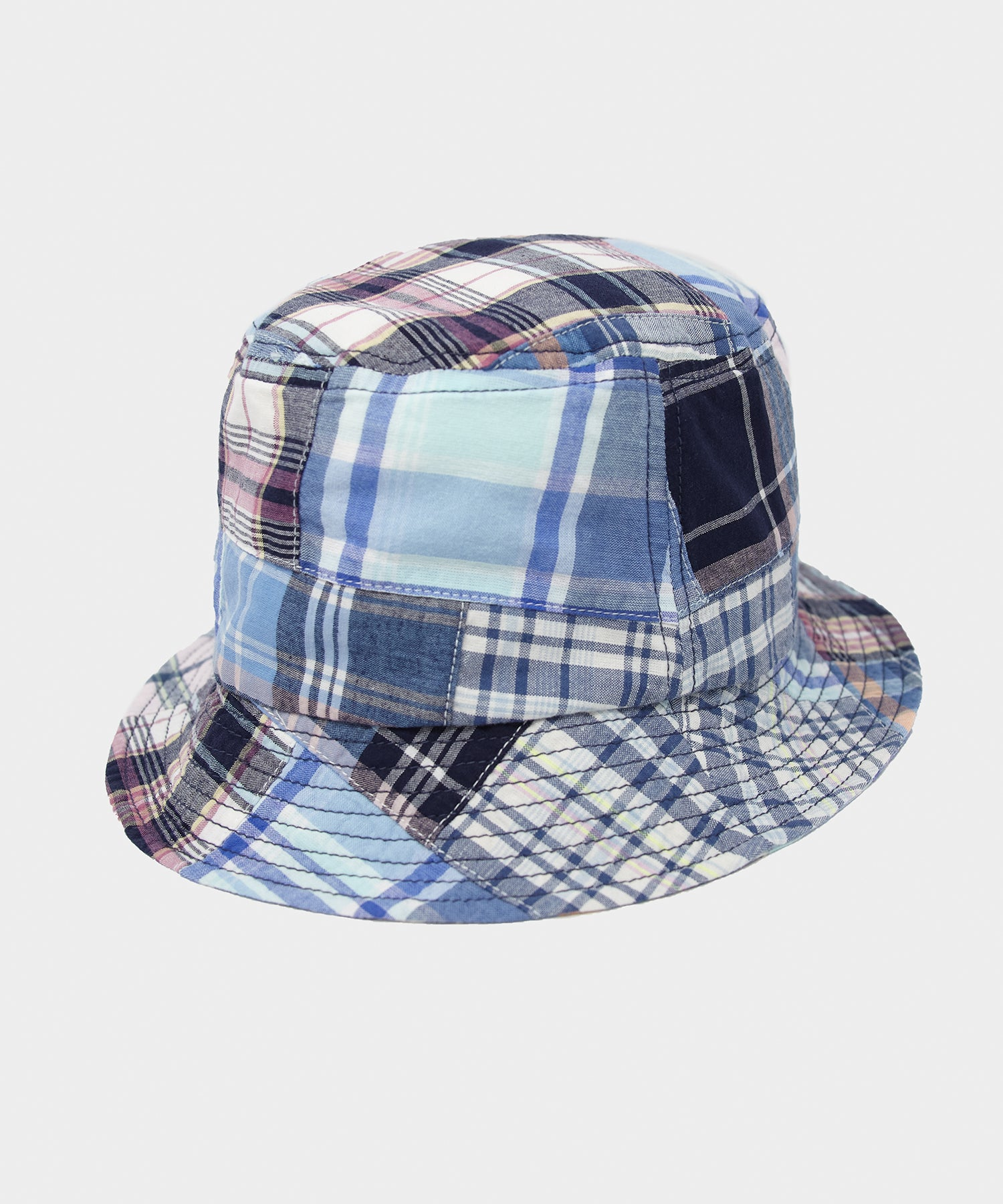 Câbleami Madras Patchwork Bucket Hat in Navy