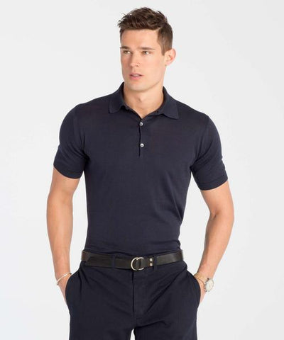 John Smedley Adrian Short Sleeve Polo in Navy