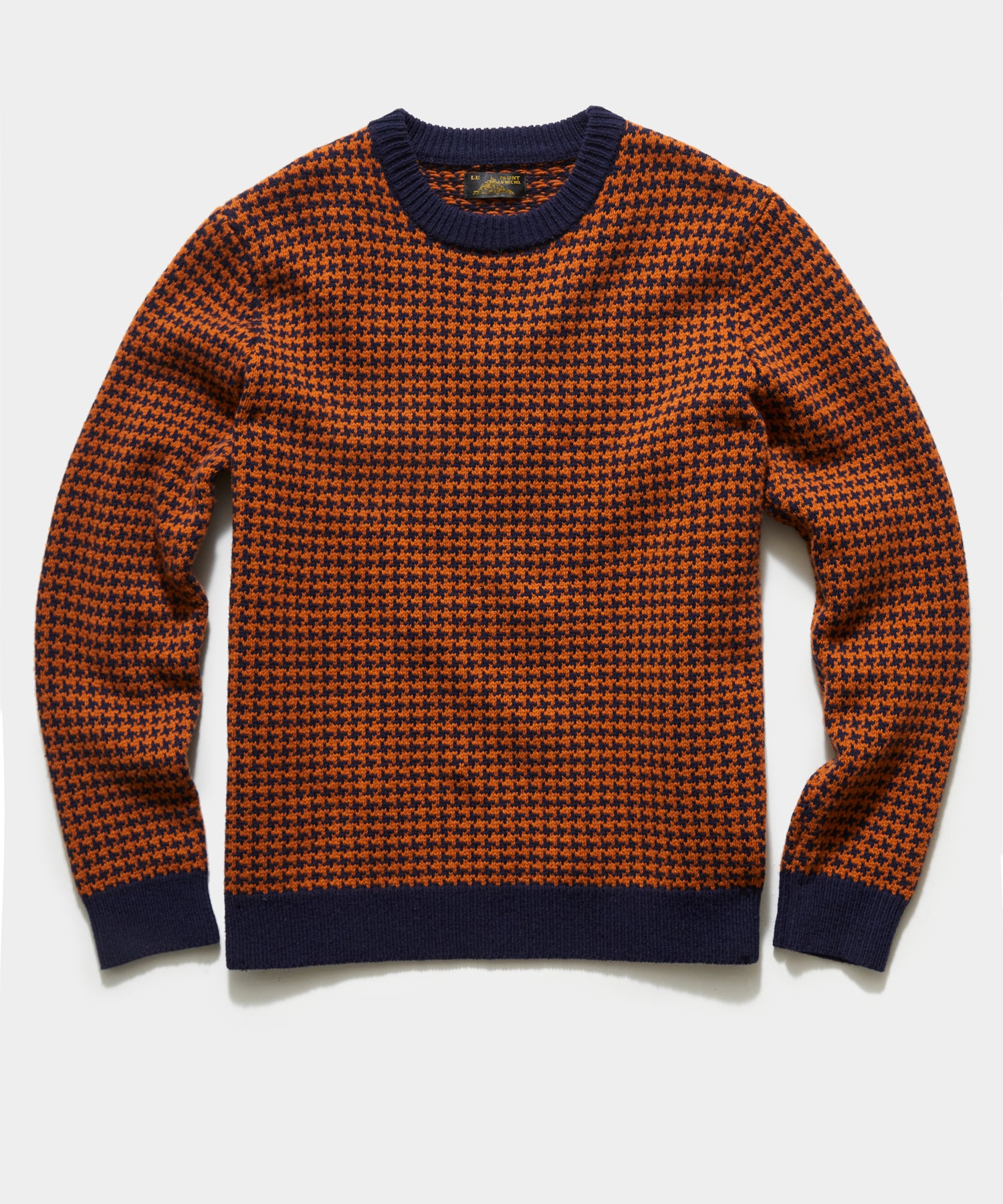 Le Mont St Michel Sabino Houndstooth Sweater in Navy/Curry