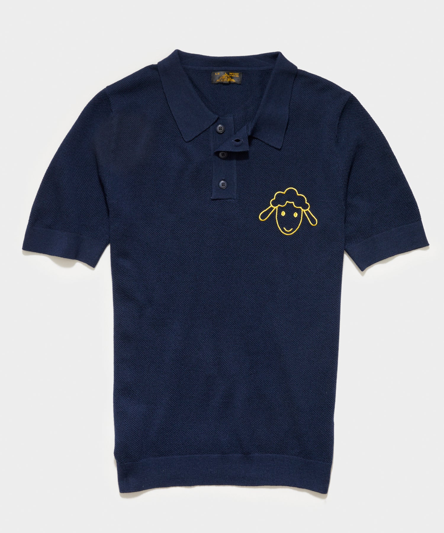 Le Mont St Michel Piqué Lambs Embroidery Sweater Polo in Navy