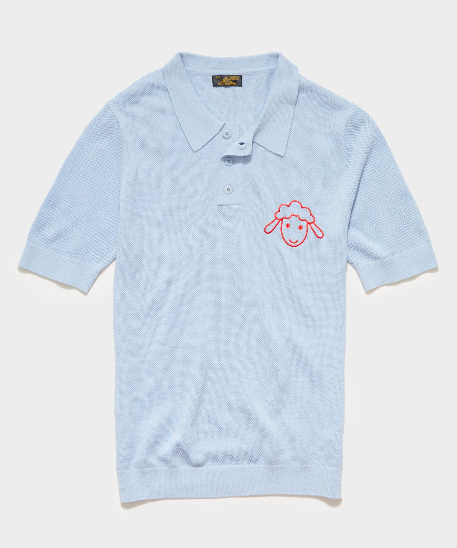 Le Mont St Michel Piqué Lambs Embroidery Sweater Polo in Sky Blue