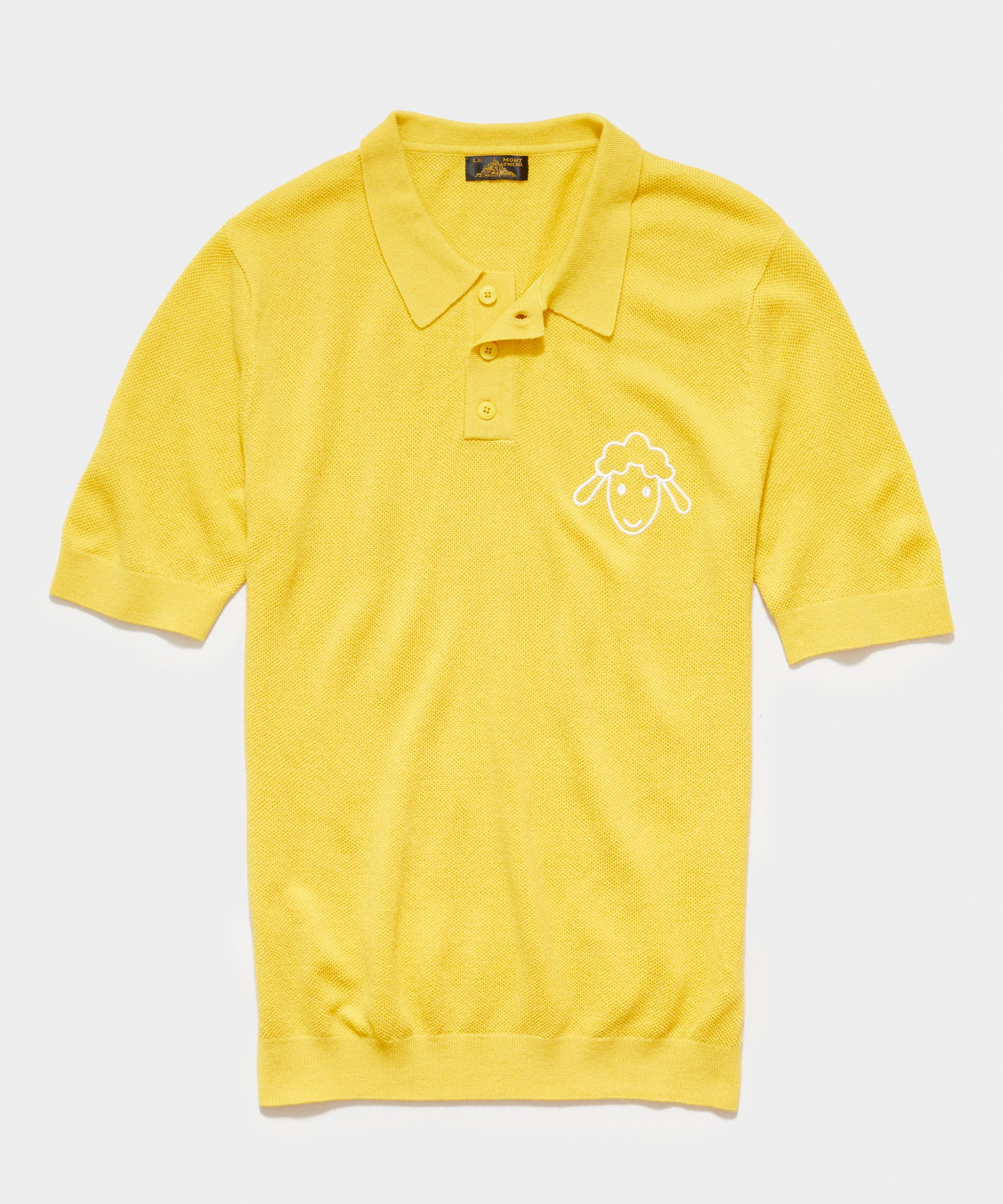Le Mont St Michel Piqué Lambs Embroidery Sweater Polo in Yellow