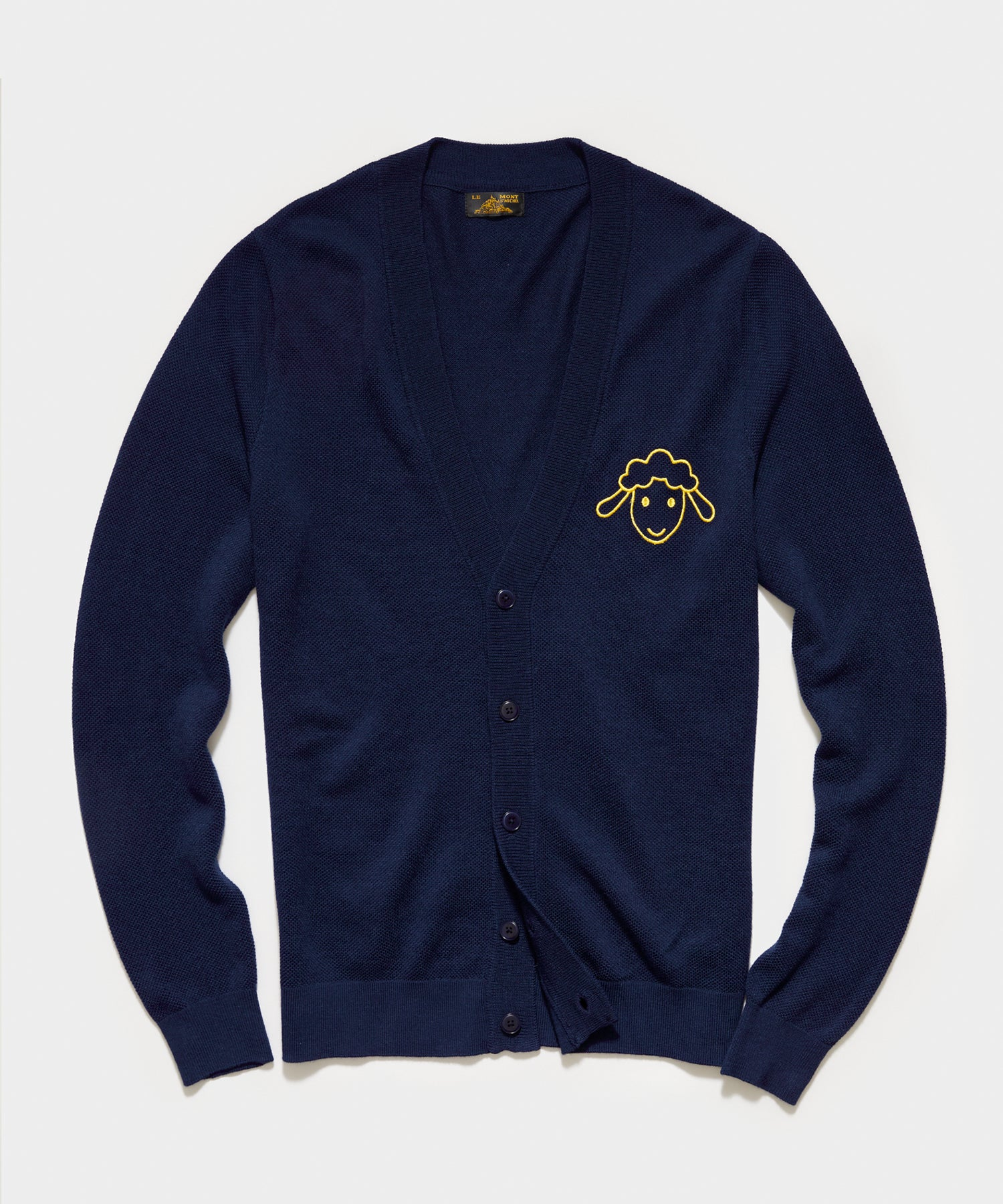 Le Mont St Michel Pique Lambs Embroidery Cardigan in Navy