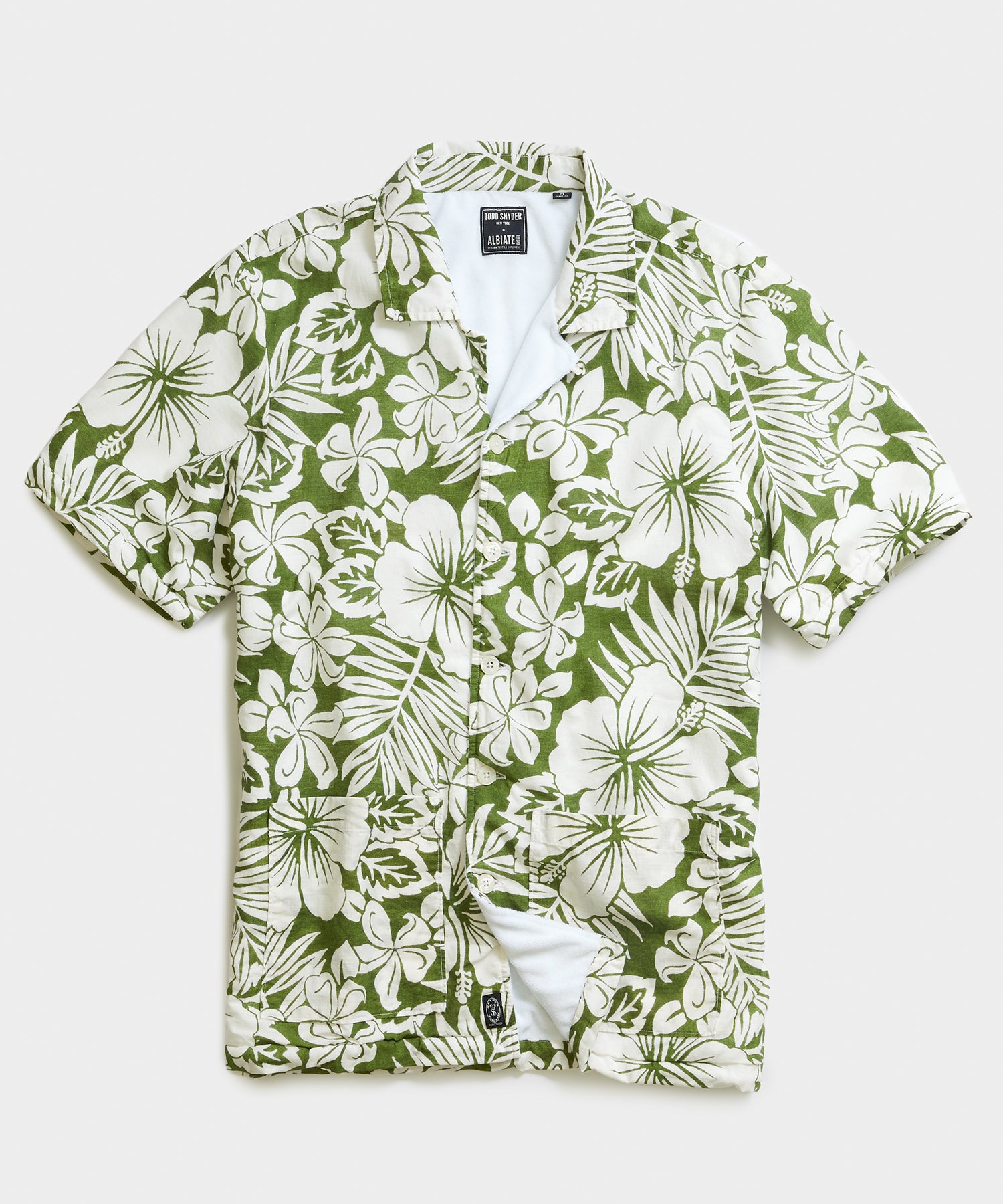 Terry Lined Pool Shirt Sleeve Shirt in Green Floral