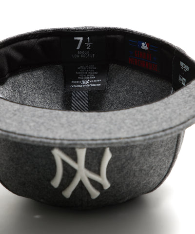 Exclusive NY Yankees Hat In Italian Barberis Grey Wool Flannel