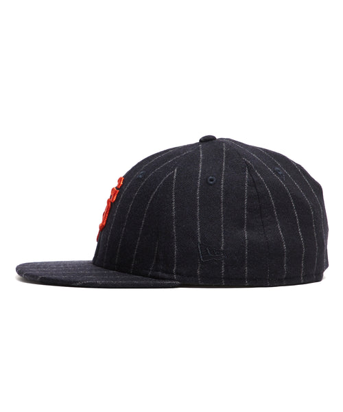 Exclusive New Era SF Giants Hat In Abraham Moon Navy Wool Chalkstripe