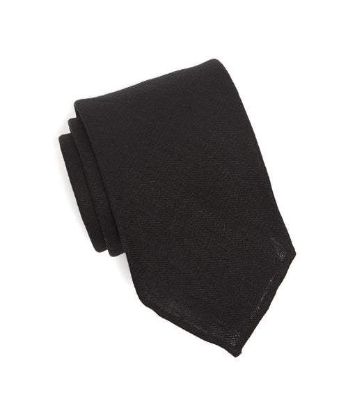 Drake's Woven Herringbone Linen Tie in Black