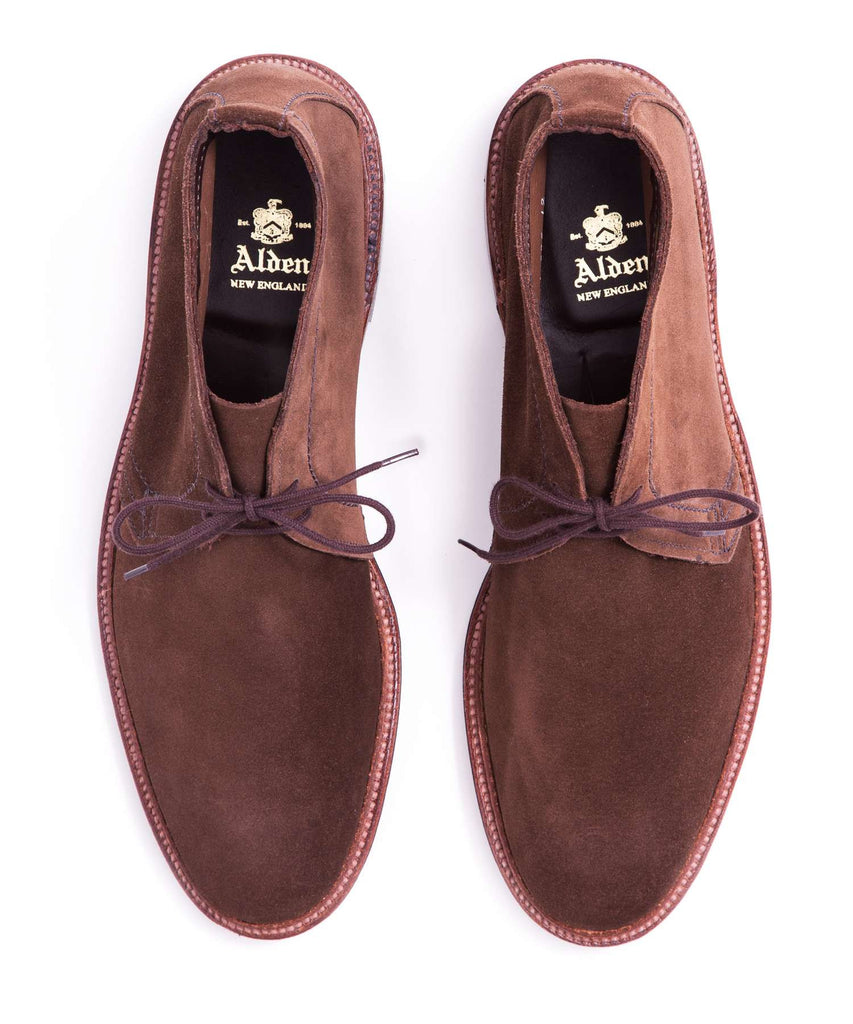 Alden Unlined Suede Chukka Boot In Dark Brown