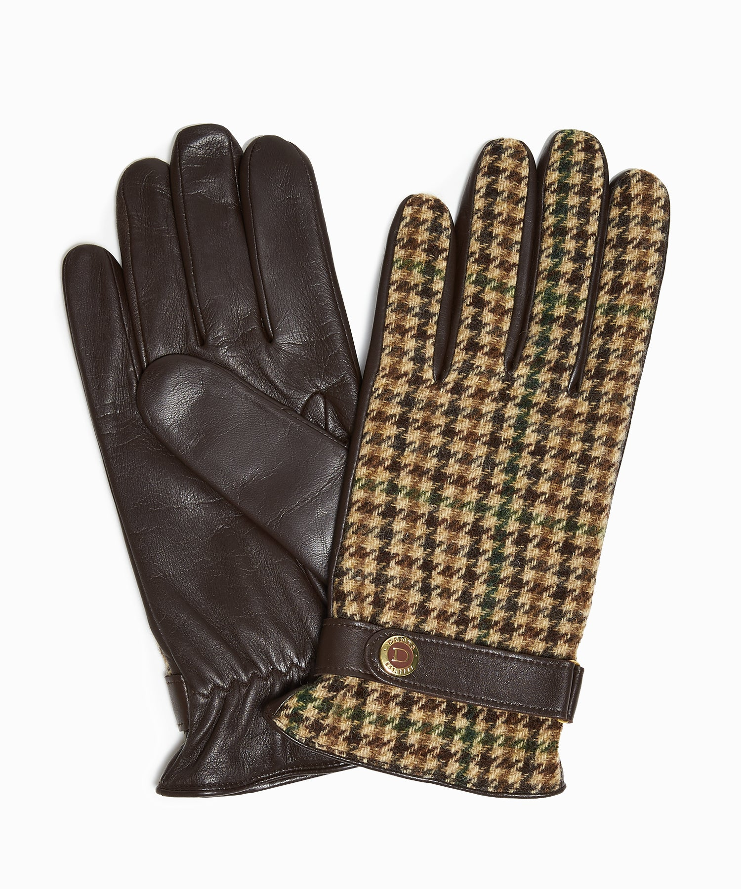 Dents Abraham Moon Dogtooth Tweed Gloves in Brown