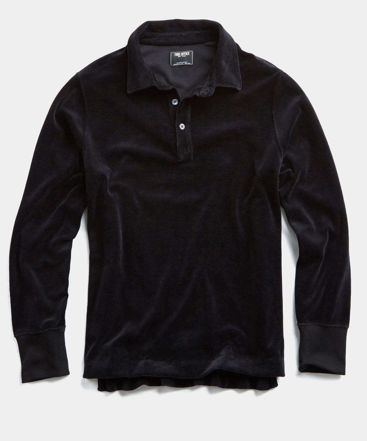 Velour Long Sleeve Polo in Black