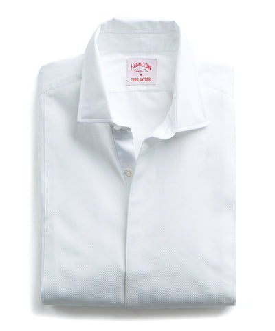 Made in the USA Hamilton + Todd Snyder White Pique Fly Front Tuxedo Shirt