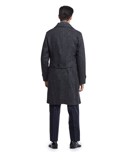 Italian Wool Twill Officer Coat in Black
