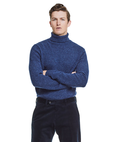 Marled Chunky Cashmere Turtleneck in Blue