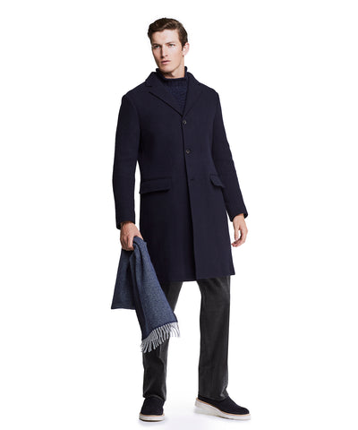 Italian Knit Topcoat in Navy