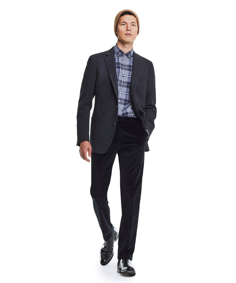 Made in USA Black Label Sutton Unconstructed Herringbone Sportcoat in Charcoal