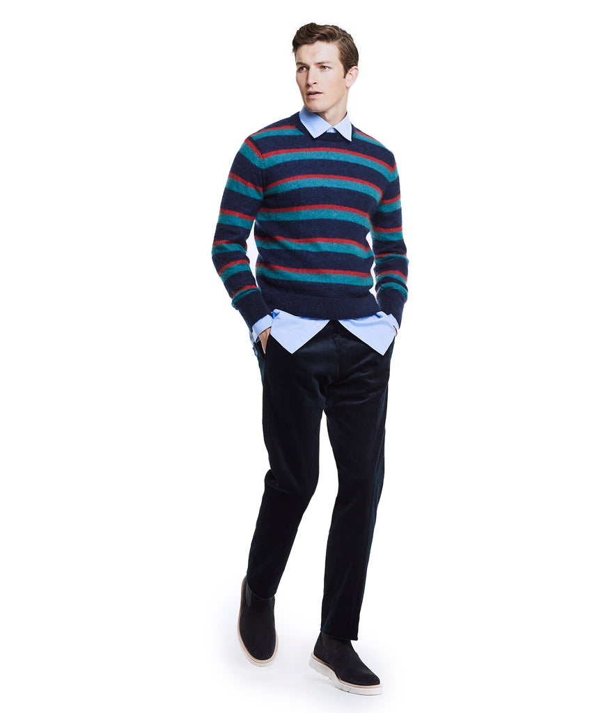 Italian Brushed Wool Multi Stripe Crewneck Sweater in Blue/Red