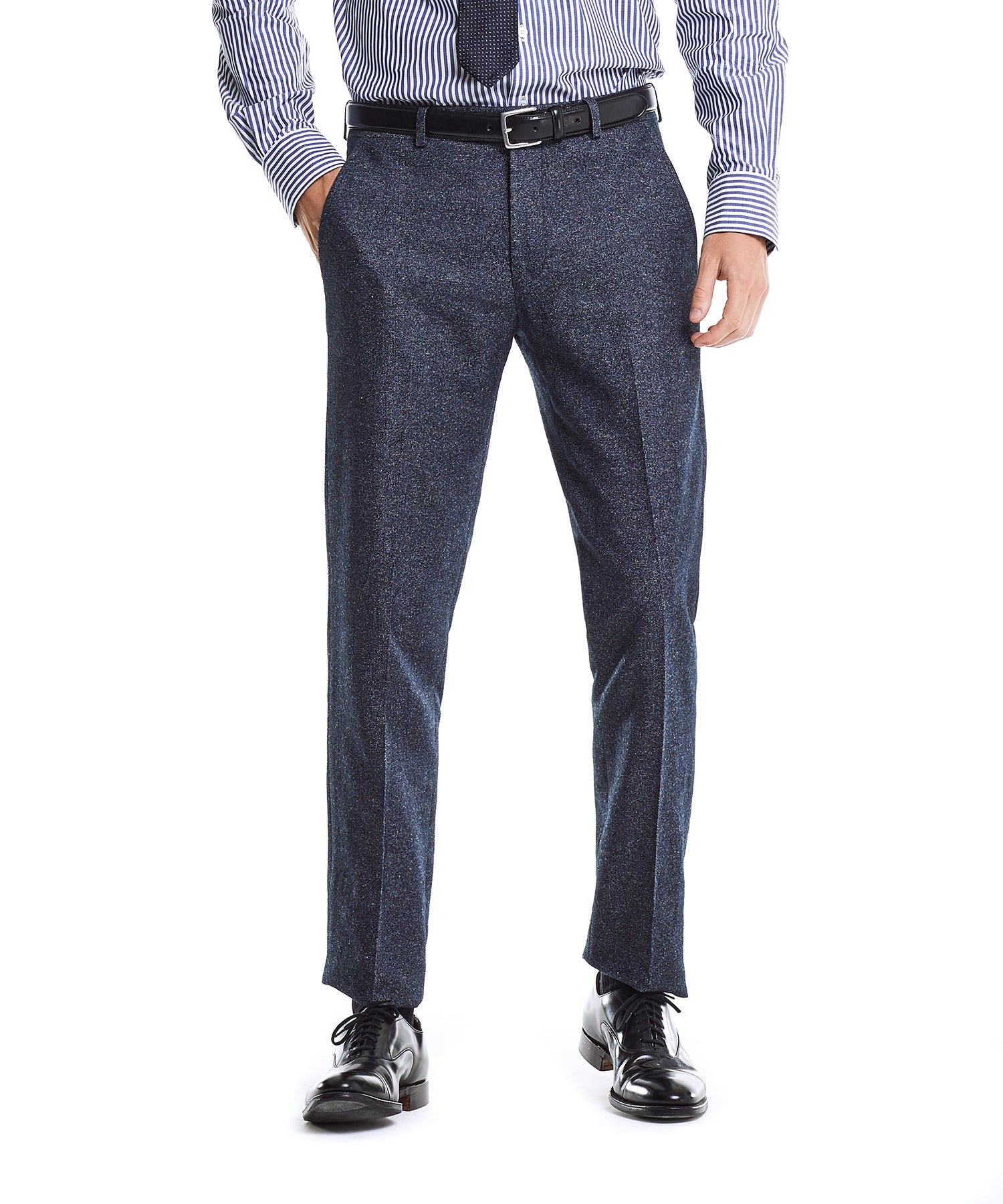 White label Italian Heather Tweed Trouser in Navy