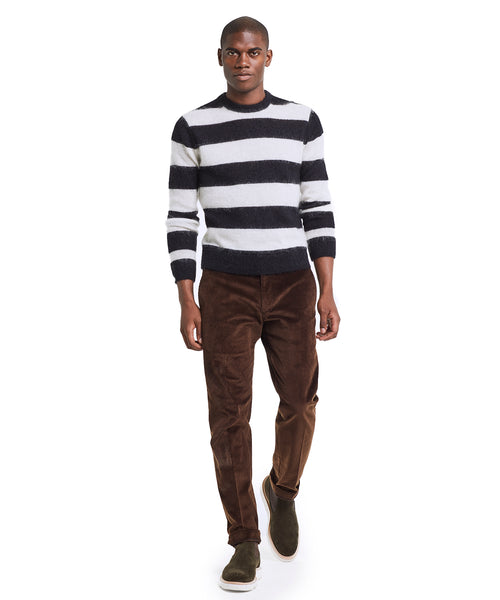 Italian Brushed Wool Rugby Striped Sweater in Charcoal/White