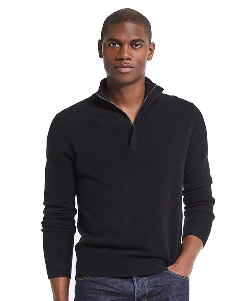 Cashmere Half-zip Sweater in Black